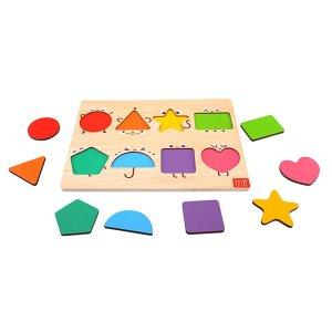 Детский деревянный познавательный пазл геометрии SHEIN. Цвет: многоцветный
