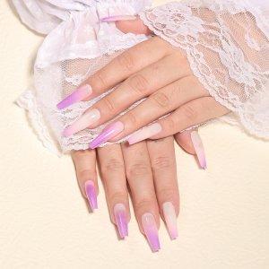 24шт Накладные ногти с узором омбре & 1шт пилочка для ногтей 1 лист лента SHEIN. Цвет: лиловый фиолетовый
