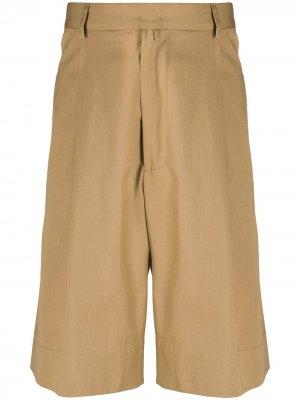 Строгие брюки прямого кроя Maison Flaneur. Цвет: коричневый