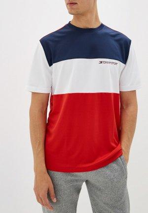Футболка спортивная Tommy Sport. Цвет: разноцветный