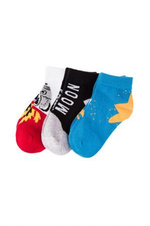 Носки, 3 пары PlayToday. Цвет: черный, синий, красный