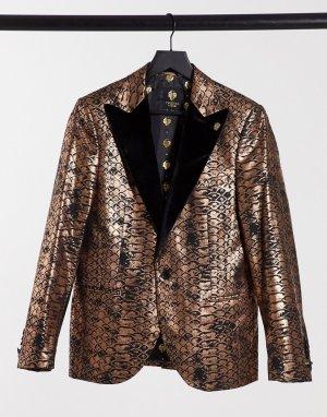 Пиджак медного цвета с бархатными лацканами и чешуйчатым принтом -Золотой Twisted Tailor