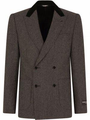 Двубортный пиджак в полоску Dolce & Gabbana. Цвет: серый