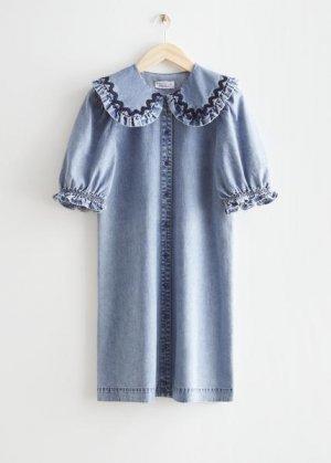 Джинсовое мини-платье с оборками &Other Stories. Цвет: синий
