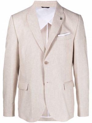 Однобортный пиджак строгого кроя Daniele Alessandrini. Цвет: нейтральные цвета