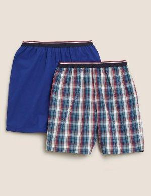 Пижамные шорты из чистого хлопка в клетку (2 пары) M&S Collection. Цвет: синий микс