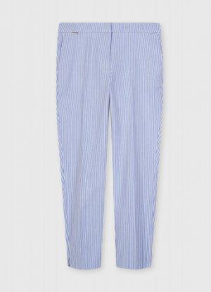 Укороченные брюки из хлопка O`Stin. Цвет: синий