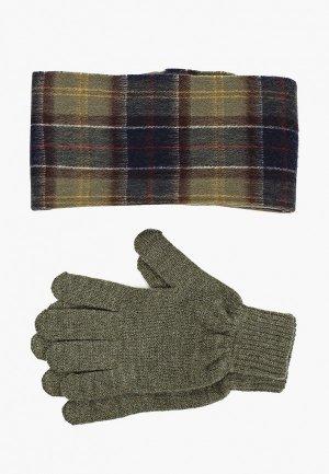 Комплект Barbour шарф и перчатки. Цвет: хаки