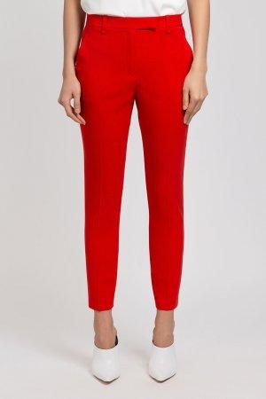 Зауженные укороченные брюки с боковыми карманами VASSA&Co. Цвет: красный