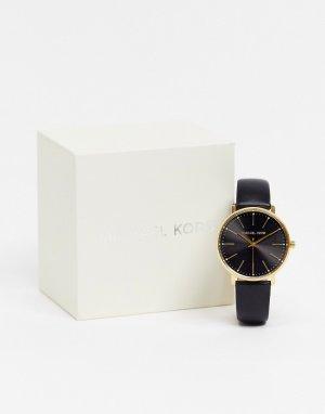 Черные кожаные часы Pyper MK2747-Черный цвет Michael Kors