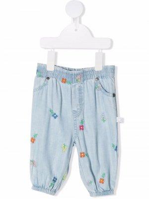 Джинсы с цветочной вышивкой Stella McCartney Kids. Цвет: синий