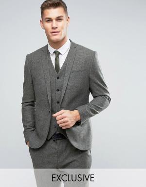 Узкий пиджак из ткани с добавлением шерсти в крапинку -Зеленый цвет Noak