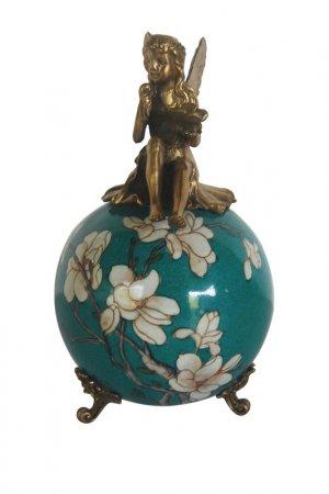Фигурка Фея на шаре ГЛАСАР. Цвет: зеленый, кремовый