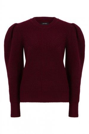 Бордовый шерстяной свитер с объемными рукавами Isabel Marant. Цвет: бордовый