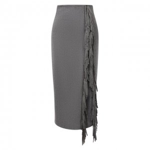 Шерстяная юбка Brunello Cucinelli. Цвет: серый