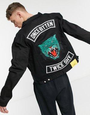 Джинсовая куртка с принтом Once bitten WеSC-Черный цвет WESC