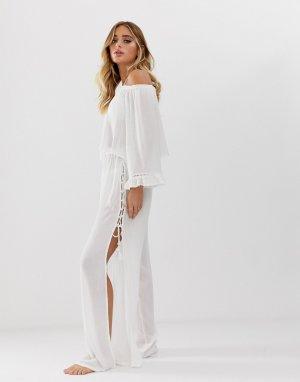 Пляжные брюки с разрезами по бокам -Белый South Beach