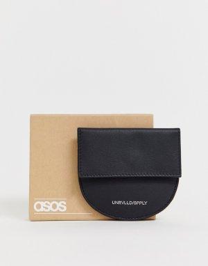 Черная полукруглая кожаная визитница с карманом для монет -Черный ASOS DESIGN