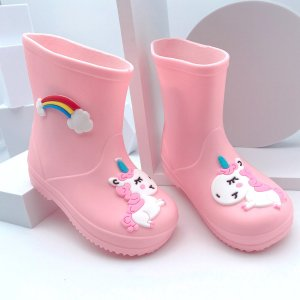 Резиновые сапоги с мультипликационным узором для девочек SHEIN. Цвет: розовые