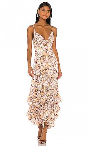 Платье миди godet Shona Joy. Цвет: коричневый