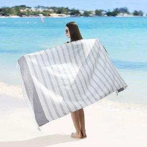 1шт Многофункциональное полотенце в полоску с бахромой SHEIN. Цвет: серый