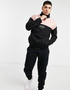Куртка-пуловер с высоким воротником и короткой молнией в черном розовом цветах -Черный цвет Hi-Tec