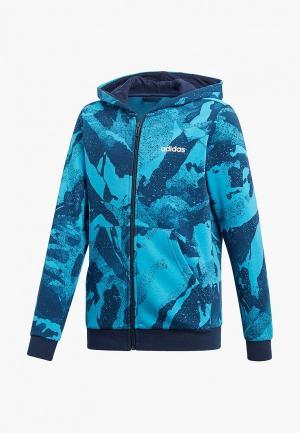 Толстовка adidas YB E AOP PR FZ. Цвет: синий