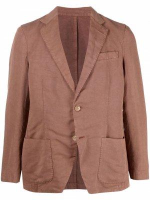 Однобортный пиджак узкого кроя Altea. Цвет: коричневый
