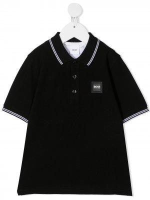Рубашка поло с нашивкой-логотипом Boss Kids. Цвет: черный