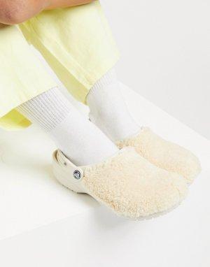 Белые пушистые кроксы Classic fuzz mania-Белый Crocs