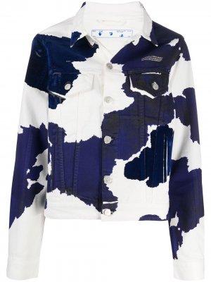 Джинсовая куртка с принтом Off-White. Цвет: синий