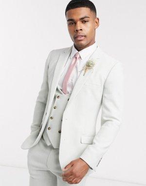 Супероблегающий пиджак с добавлением шерсти wedding-Зеленый цвет ASOS DESIGN