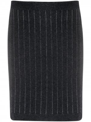 Кашемировая юбка миди в полоску Barrie. Цвет: серый