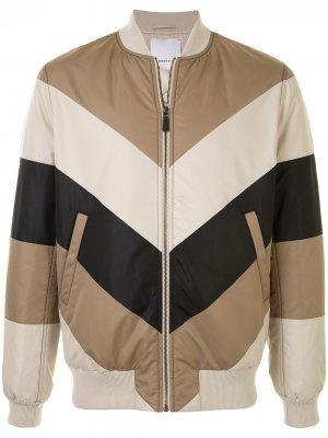 Куртка-бомбер на молнии в стиле колор-блок Ports V. Цвет: коричневый