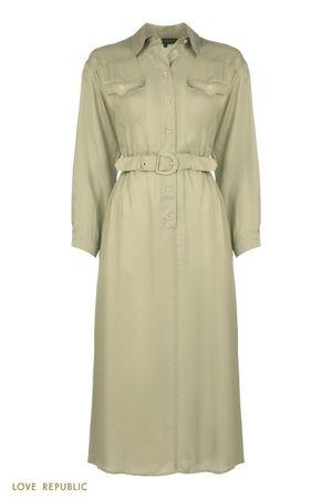Платье-рубашка с поясом на резинке LOVE REPUBLIC