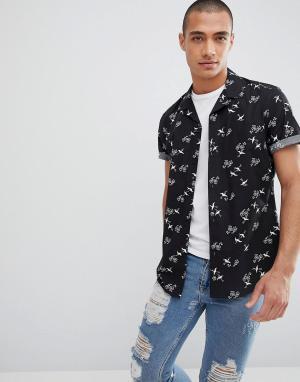 Облегающая рубашка с принтом ASOS DESIGN. Цвет: черный