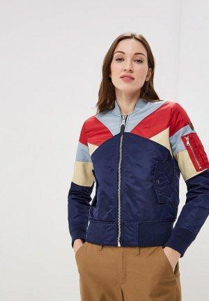 Куртка утепленная Schott N.Y.C. Woman American College Bomber Jacket – Flag. Цвет: синий