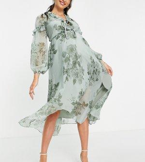 Зеленое платье миди с цветочным принтом, глубоким вырезом, оборками и завязкой ASOS DESIGN Maternity-Разноцветный Maternity