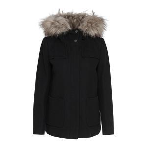 Пальто короткое со съемным капюшоном из полушерстяной ткани ONLY. Цвет: черный