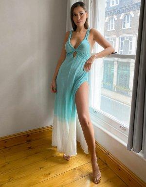 Фактурное пляжное платье макси для груди большого размера -Голубой ASOS DESIGN
