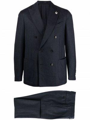 Костюм с двубортным пиджаком Lardini. Цвет: синий