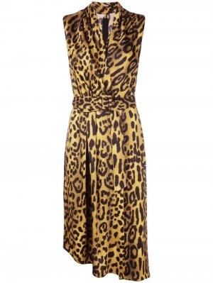 Платье миди с леопардовым принтом Adam Lippes. Цвет: золотистый