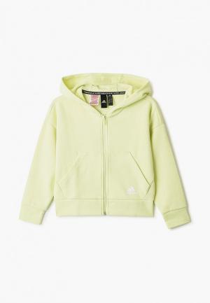 Толстовка adidas. Цвет: зеленый