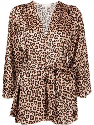 Халат с леопардовым принтом Fleur Du Mal. Цвет: коричневый