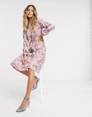 Платье миди с цветочным принтом и высоким воротником -Мульти Closet London