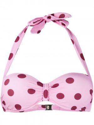 Лиф бикини в горох с вырезом халтер Dolce & Gabbana. Цвет: розовый