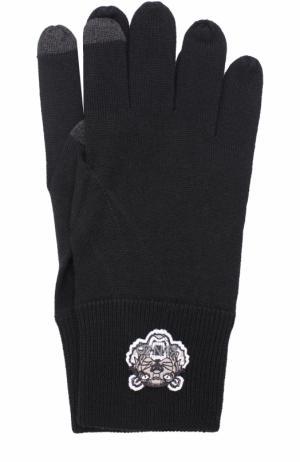 Шерстяные перчатки Kenzo. Цвет: черный