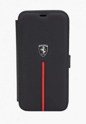 Чехол для iPhone Ferrari 12/12 Pro (6.1), Off-Track Genuine leather Stitched stripe Black. Цвет: черный
