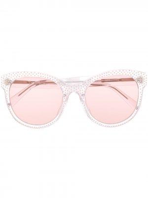 Солнцезащитные очки в оправе кошачий глаз с затемненными линзами Philipp Plein. Цвет: белый