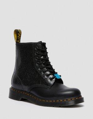 Черные ботинки с 8 парами люверсов для шнурков x Keith Haring 1460-Черный цвет Dr Martens
